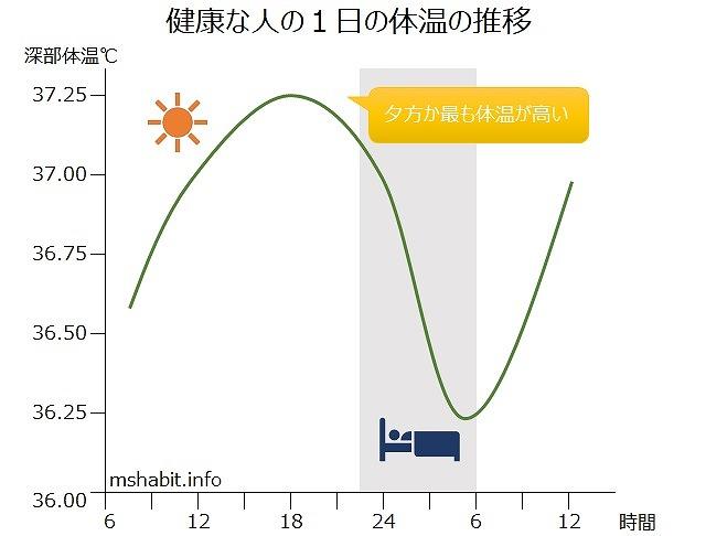 一日の体温推移グラフ