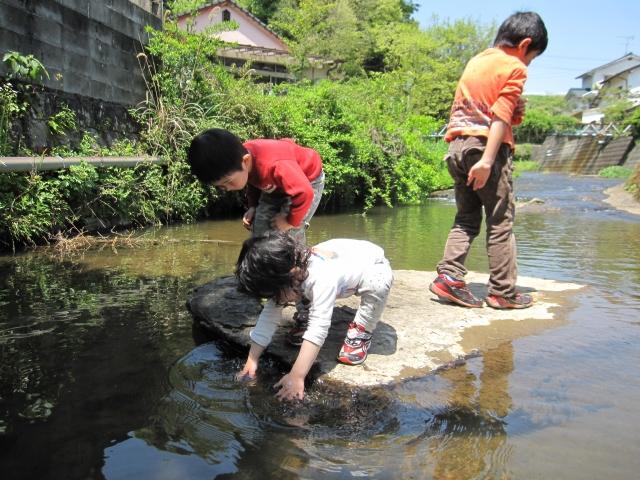 川遊びの子ら