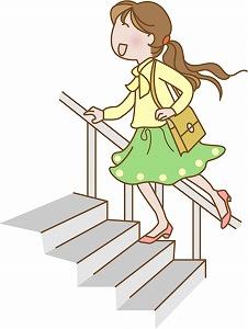 階段を駆け上がる