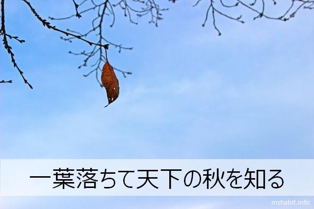 一葉落ちて天下の秋を知る