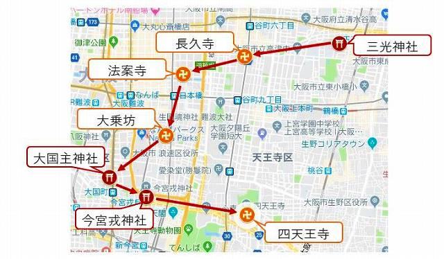 大阪七福神巡りmap