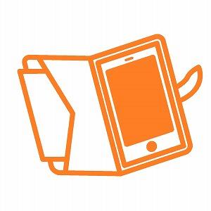 オレンジ色のスマホケース