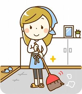 玄関を掃除